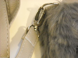 Shoulder Bag with Silvery Gray Faux Fur and Gray Faux Leather image 5