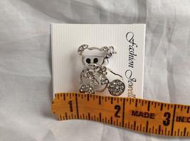 Silver Tone Bear with White Crystals Brooch/Pin Black Stone Eyes Pin Closure image 8