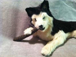 Siberian Husky chewing on stick - Dog Figurine - recycled rabbit fur image 2