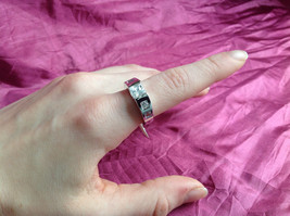 Silver Rhodium and  CZ Stone  Ring  Square Cut Stones with Large Stone Size 8 image 5