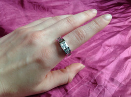 Silver Rhodium and  CZ Stone  Ring  Square Cut Stones with Large Stone Size 8 image 4