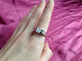 Silver Rhodium and  CZ Stone  Ring  Square Cut Stones with Large Stone Size 8 image 8