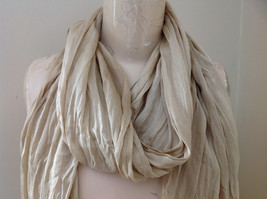 Silk Cotton Tan Scrunch Style Scarf with Tassels by Look Tag Attached image 3