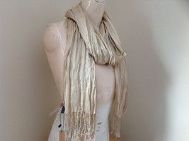 Silk Cotton Tan Scrunch Style Scarf with Tassels by Look Tag Attached image 2
