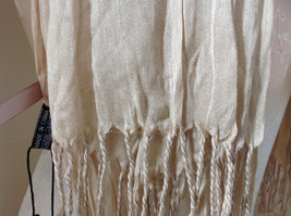 Silk Cotton Tan Scrunch Style Scarf with Tassels by Look Tag Attached image 4