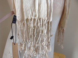 Silk Cotton Tan Scrunch Style Scarf with Tassels by Look Tag Attached image 5