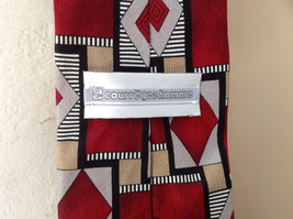 Silk Red Gray Tan Diamond Square Geometric Pattern Tie Courre Geshomme image 5