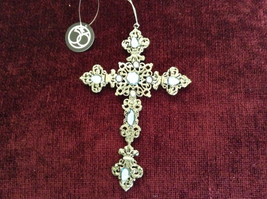 Silver Blue Jewel Cross Ornament Department 56 New With Tag image 4