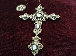 Silver Blue Jewel Cross Ornament Department 56 New With Tag image 2