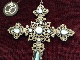 Silver Blue Jewel Cross Ornament Department 56 New With Tag image 3