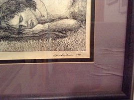 Signed Framed Pen Art by Wendy Lewis 1981 Man Sleeping Being Watched by Lion image 2