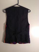 Sigrid Olsen Striped Red Orange Blue Black Short Sleeve Lined Vest Size M image 4