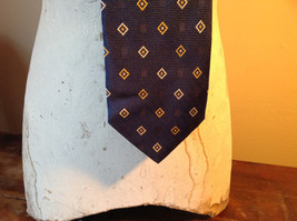 Silk Blue with White and Gold Diamond Shape Tie Made in Italy Equestrian Firenze image 2