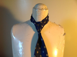 Silk Blue with White and Gold Diamond Shape Tie Made in Italy Equestrian Firenze image 3