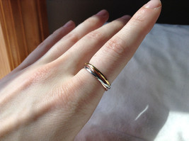 Silver Gold Rose Gold Plated Triple Crossover Bands Ring Size 7.75 and 6.5 image 2