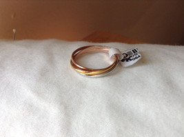 Silver Gold Rose Gold Plated Triple Crossover Bands Ring Size 7.75 and 6.5 image 5