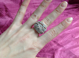 Silver Rhodium CZ Stone Statement Ring 5 Stacking Bands size choices 6 - 10 image 4