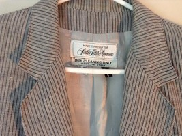 Silver Gray and Black Striped Blazer Suit Jacket Vintage Shoulder Pads Size 12 image 2