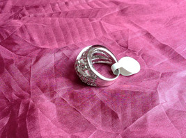 Silver Rhodium CZ Stone Statement Ring 5 Stacking Bands size choices 6 - 10 image 2