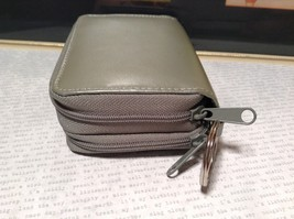 Silver Colored Genuine Leather Wallet with Clear and Front and 2 Zipper Pockets image 2