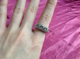 Silver Rhodium and CZ Stone Statement Ring Zig Zag Cut Out Design Size 8 image 7