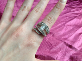 Silver Rhodium CZ Stone  Ring 3 Band Stacking Design Oval Stone Size choices image 5