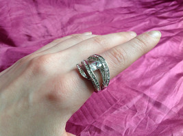 Silver Rhodium CZ Stone  Ring 3 Band Stacking Design Oval Stone Size choices image 4