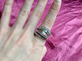 Silver Rhodium CZ Stone  Ring 3 Band Stacking Design Oval Stone Size choices image 8