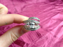 Silver Rhodium CZ Stone  Ring 3 Band Stacking Design Oval Stone Size choices image 9