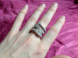 Silver Rhodium w CZ Stones Statement Ring Stacking Bands squares size choices image 5