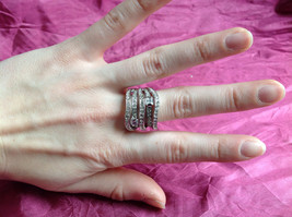 Silver Rhodium w CZ Stones Statement Ring Stacking Bands squares size choices image 3