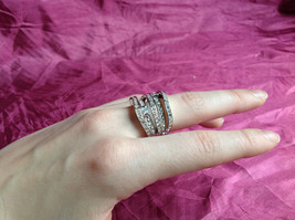 Silver Rhodium w CZ Stones Statement Ring Stacking Bands squares size choices image 4