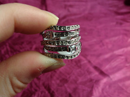 Silver Rhodium w CZ Stones Statement Ring Stacking Bands squares size choices image 8