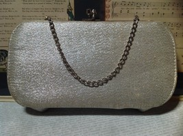 Silver Sparkly Clutch Bag with Silver Chain and Clasp image 5