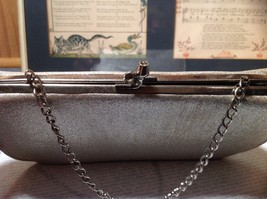 Silver Sparkly Clutch Bag with Silver Chain and Clasp image 2