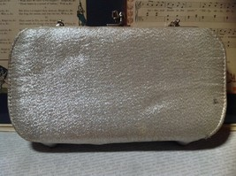 Silver Sparkly Clutch Bag with Silver Chain and Clasp image 7