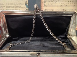 Silver Sparkly Clutch Bag with Silver Chain and Clasp image 10