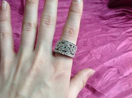Silver Rhodium CZ Stone Statement Ring Swirl Design Wavy Design On Side Size 8 image 4