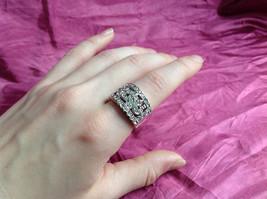 Silver Rhodium CZ Stone Statement Ring Swirl Design Wavy Design On Side Size 8 image 5