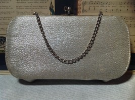 Silver Sparkly Clutch Bag with Silver Chain and Clasp image 4