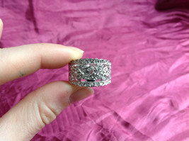Silver Rhodium CZ Stone Statement Ring Swirl Design Wavy Design On Side Size 8 image 9