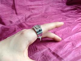 Silver Rhodium CZ Stone Statement Ring Swirl Design Wavy Design On Side Size 8 image 6
