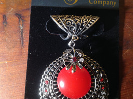 Silver Tone Scarf Pendant with Large Red Stone and Small Red Crystals image 3