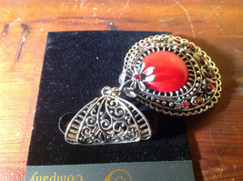 Silver Tone Scarf Pendant with Large Red Stone and Small Red Crystals image 4