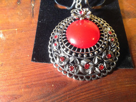 Silver Tone Scarf Pendant with Large Red Stone and Small Red Crystals image 2