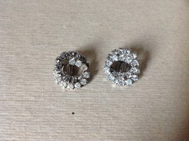 Silver Tone Clip On Earrings Inlaid with Swarovski Clear Gray Crystals image 2