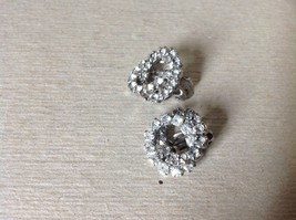 Silver Tone Clip On Earrings Inlaid with Swarovski Clear Gray Crystals image 3