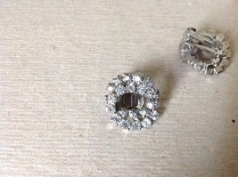 Silver Tone Clip On Earrings Inlaid with Swarovski Clear Gray Crystals image 5