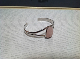 Silver Tone Geo Jewelry Bracelet with Light Pink Stone Oval Shape image 2