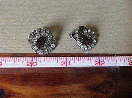 Silver Tone Clip On Earrings Inlaid with Swarovski Clear Gray Crystals image 6